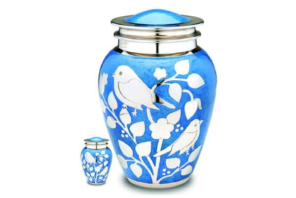 Blessing Birds Blue Cremation Urn