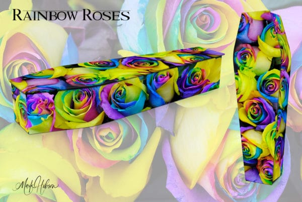 Rainbow Roses Coffin